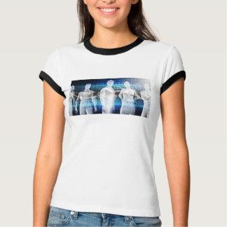 Abstrakte Daten der Bevölkerung und Schlüssel T-Shirt
