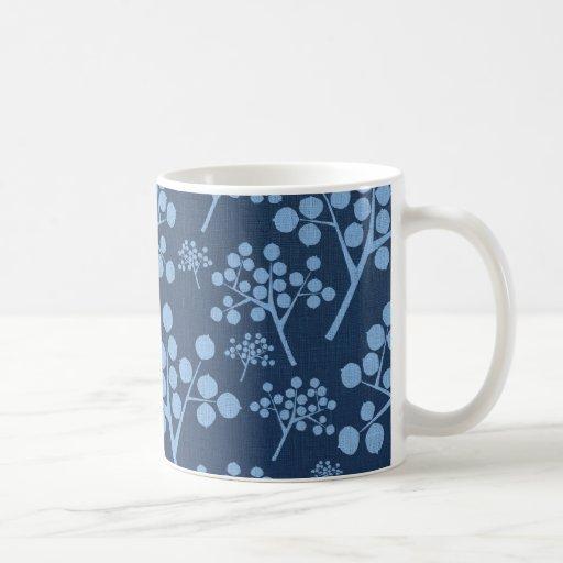 Abstrakte Denim-Bäume Tee Haferl