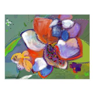 Abstrakte Digital-Blumen-   Postkarte 5