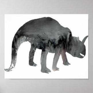 Abstrakte Dinosaurier-Silhouette Poster