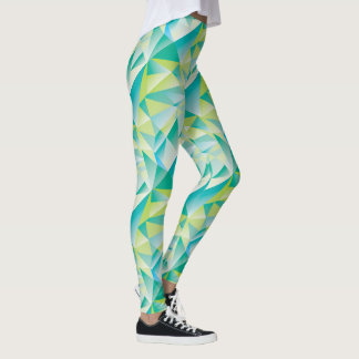 Abstrakte Dreieck-Minzen-blaues Aqua-Gelb-Muster Leggings
