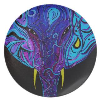 Abstrakte Elefant-Melamin-Platte Teller
