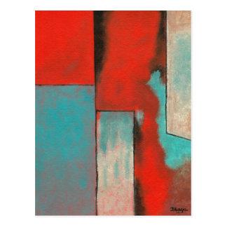 Abstrakte Expressionist-Kunst, die roten Türkis Postkarte