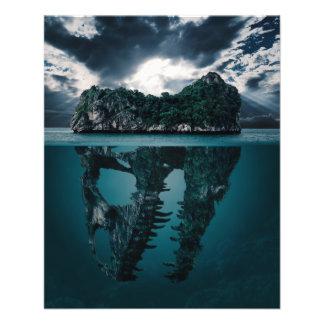 Abstrakte Fantasie-künstlerische Insel 11,4 X 14,2 Cm Flyer