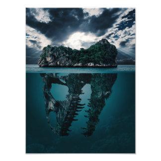 Abstrakte Fantasie-künstlerische Insel Fotodruck