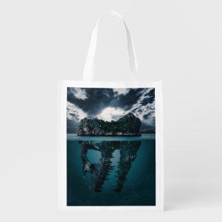 Abstrakte Fantasie-künstlerische Insel Wiederverwendbare Einkaufstasche