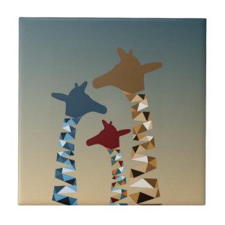 Abstrakte farbige Giraffen-Familie Fliese
