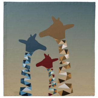Abstrakte farbige Giraffen-Familie Serviette