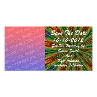 Abstrakte farbige Strahln-Foto-Hochzeit retten Karte