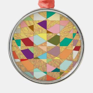 Abstrakte Farbsun-Explosion Silbernes Ornament