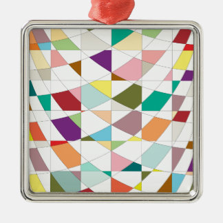 Abstrakte Farbtapisserie Silbernes Ornament