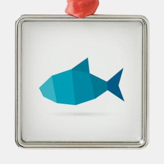 Abstrakte Fische Quadratisches Silberfarbenes Ornament