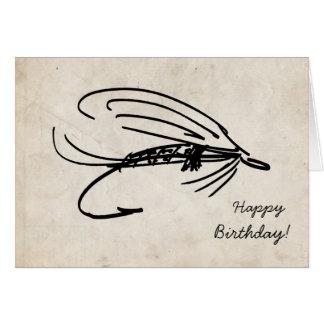 Abstrakte Fliegen-Fischen-Geburtstags-Karte Karte