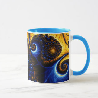 Abstrakte Fraktal-blauer Himmel-Keramik-Tasse Tasse