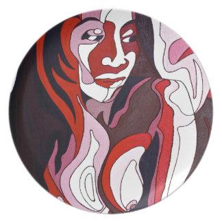 Abstrakte Frau 2 Teller