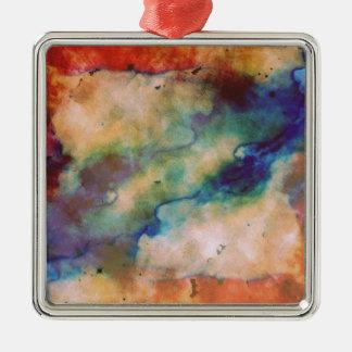 Abstrakte Galaxie Marbleized Kunst Quadratisches Silberfarbenes Ornament