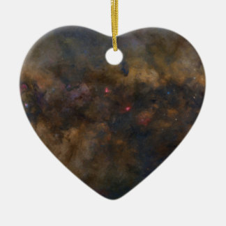 Abstrakte Galaxie mit kosmischer Wolke 2 Keramik Herz-Ornament