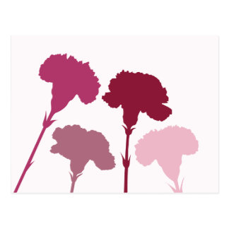 Abstrakte Gartennelken-Silhouetten - Rottöne u. Ro Postkarte