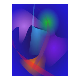 Abstrakte Gegenstände im blauen Raum Flyerdruck