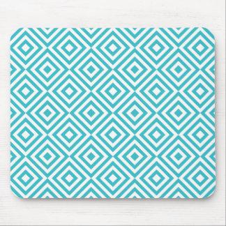 Abstrakte geometrische Quadrate Muster, Aquaweiß Mousepad