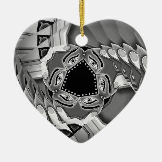 Abstrakte gewundene Treppe mit Augen in der Mitte Keramik Herz-Ornament