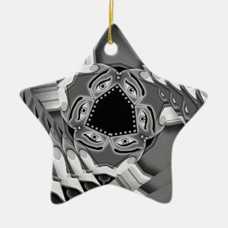 Abstrakte gewundene Treppe mit Augen in der Mitte Keramik Stern-Ornament