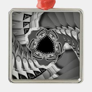 Abstrakte gewundene Treppe mit Augen in der Mitte Quadratisches Silberfarbenes Ornament