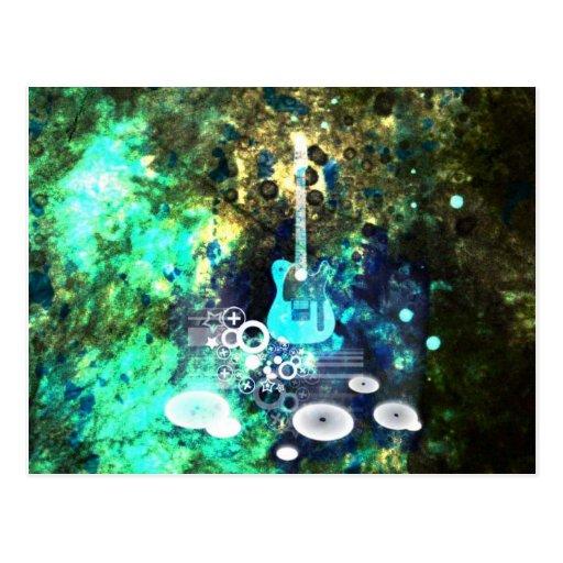 Abstrakte Gitarren-Kunst Postkarten