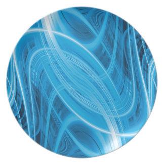 Abstrakte glühende blaue Linien Melaminteller