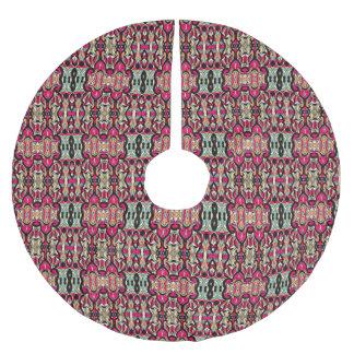 Abstrakte Hand gezeichnetes buntes Muster Polyester Weihnachtsbaumdecke