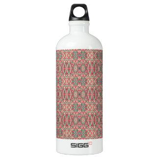 Abstrakte Hand gezeichnetes Muster. Rosa Farbe Aluminiumwasserflasche