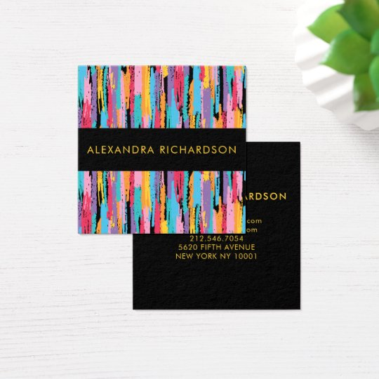 Abstrakte helle Zeichenstift-Farben mit Schwarzem Quadratische Visitenkarte