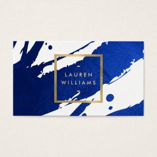 Abstrakte Indigo-BlauBrushstrokes Visitenkarten