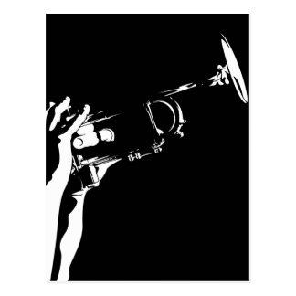 Abstrakte Jazz-Trompete-Postkarte Postkarte