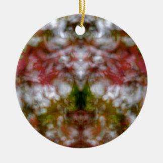 Abstrakte Kaleidoskopzahl und -gesichter Rundes Keramik Ornament