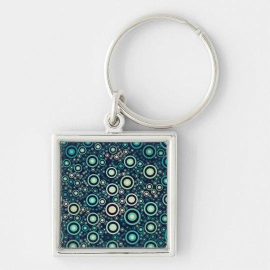 Abstrakte Kreise Silberfarbener Quadratischer Schlüsselanhänger
