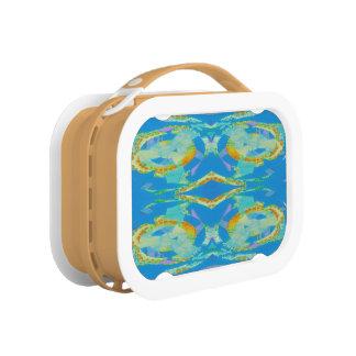Abstrakte Kunst-blaues orange Grün Brotdose