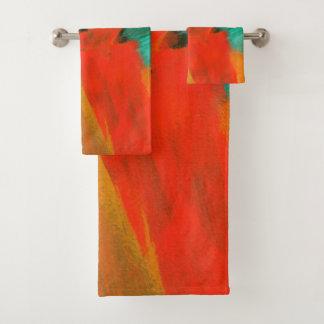 Abstrakte Kunst, die rotes orange Goldgrün malt Badhandtuch Set