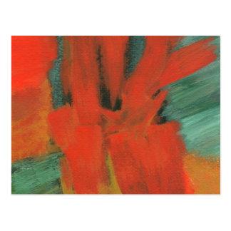 Abstrakte Kunst, die rotes orange grünes Gold malt Postkarte