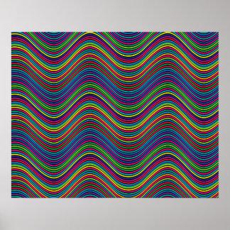 Abstrakte Kunst-Farbdekorative gewellte Linien Poster