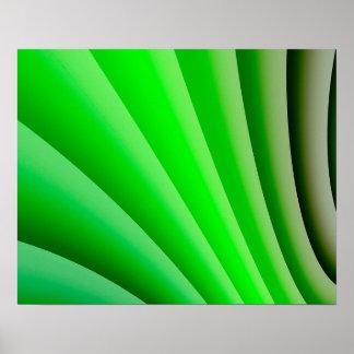 Abstrakte Kunst-grüne Welle Poster