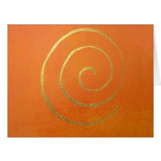 Abstrakte Kunst-moderne Farborange Riesige Grußkarte