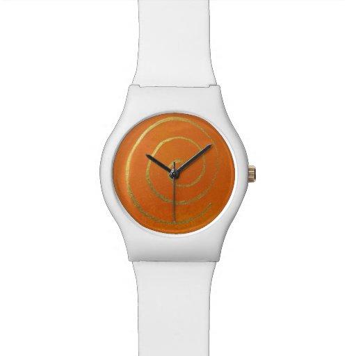 Abstrakte Kunst-moderne Farborange Uhren