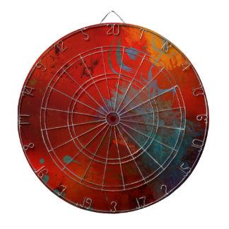 Abstrakte Kunst Rot, Aquau. Goldgrunge-Digital Dartscheibe