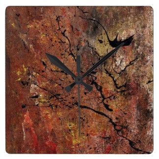 Abstrakte Kunst - verheerendes Feuer Quadratische Wanduhr