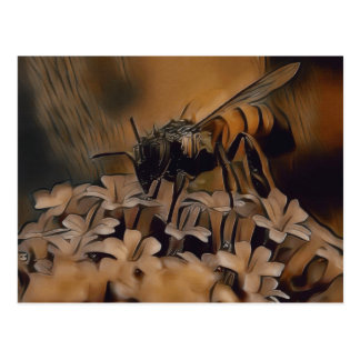 Abstrakte künstlerische Bienen-Malerei-Postkarte Postkarte