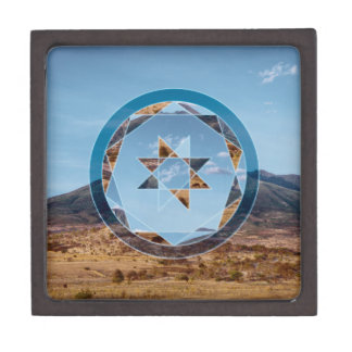 Abstrakte Landschaft mit geometrischen Formen Kiste