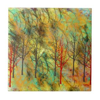 Abstrakte Landschaft und Bäume Keramikfliese
