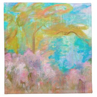 Abstrakte Landschaftskunst-Baum-Türkis-Rosa-Blumen Stoffserviette