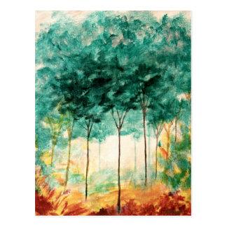 Abstrakte Landschaftskunst-Baum-Waldmalerei Postkarte